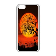 Helloween Midnight Graveyard Silhouette Apple Iphone 5c Seamless Case (white) by Mariart