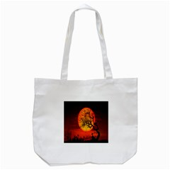 Helloween Midnight Graveyard Silhouette Tote Bag (white)