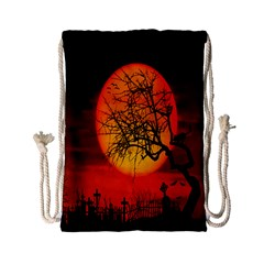 Helloween Midnight Graveyard Silhouette Drawstring Bag (small) by Mariart