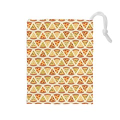 Food Pizza Bread Pasta Triangle Drawstring Pouches (large)  by Mariart