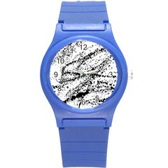 Ink Splatter Texture Round Plastic Sport Watch (s) by Mariart