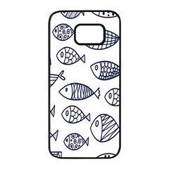 Love Fish Seaworld Swim Blue Sea Water Cartoons Samsung Galaxy S7 Edge Black Seamless Case by Mariart