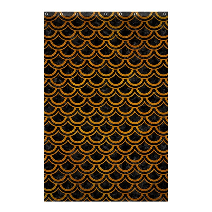 SCALES2 BLACK MARBLE & YELLOW GRUNGE (R) Shower Curtain 48  x 72  (Small)
