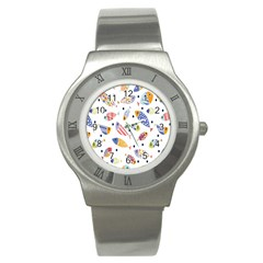 Love Fish Seaworld Swim Blue White Sea Water Cartoons Rainbow Stainless Steel Watch by Mariart