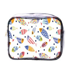 Love Fish Seaworld Swim Blue White Sea Water Cartoons Rainbow Mini Toiletries Bags by Mariart