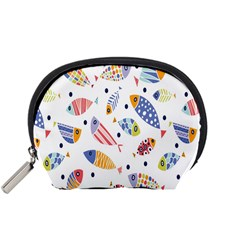 Love Fish Seaworld Swim Blue White Sea Water Cartoons Rainbow Accessory Pouches (small)  by Mariart
