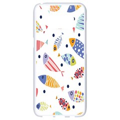 Love Fish Seaworld Swim Blue White Sea Water Cartoons Rainbow Samsung Galaxy S8 White Seamless Case by Mariart