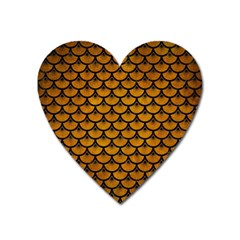 Scales3 Black Marble & Yellow Grunge Heart Magnet by trendistuff