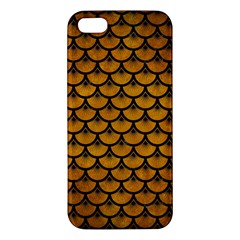 Scales3 Black Marble & Yellow Grunge Apple Iphone 5 Premium Hardshell Case by trendistuff