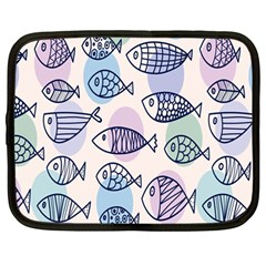 Love Fish Seaworld Swim Blue White Sea Water Cartoons Rainbow Polka Dots Netbook Case (large) by Mariart