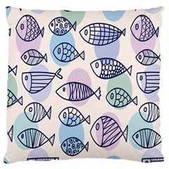 Love Fish Seaworld Swim Blue White Sea Water Cartoons Rainbow Polka Dots Large Cushion Case (one Side)