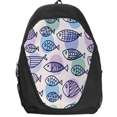 Love Fish Seaworld Swim Blue White Sea Water Cartoons Rainbow Polka Dots Backpack Bag