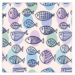 Love Fish Seaworld Swim Blue White Sea Water Cartoons Rainbow Polka Dots Large Satin Scarf (square) by Mariart