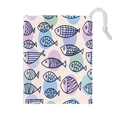 Love Fish Seaworld Swim Blue White Sea Water Cartoons Rainbow Polka Dots Drawstring Pouches (extra Large)