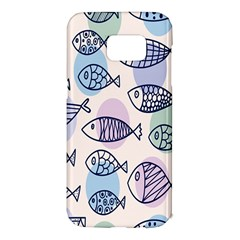 Love Fish Seaworld Swim Blue White Sea Water Cartoons Rainbow Polka Dots Samsung Galaxy S7 Edge Hardshell Case
