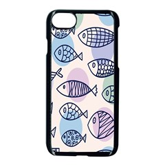 Love Fish Seaworld Swim Blue White Sea Water Cartoons Rainbow Polka Dots Apple Iphone 8 Seamless Case (black) by Mariart