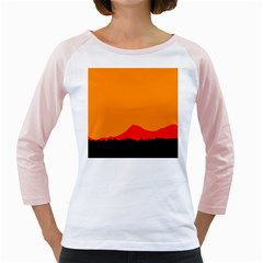 Mountains Natural Orange Red Black Girly Raglans