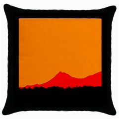 Mountains Natural Orange Red Black Throw Pillow Case (black) by Mariart
