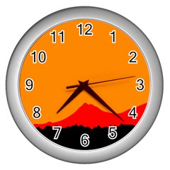 Mountains Natural Orange Red Black Wall Clocks (silver)