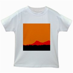 Mountains Natural Orange Red Black Kids White T Shirts