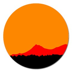 Mountains Natural Orange Red Black Magnet 5  (round)