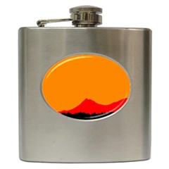 Mountains Natural Orange Red Black Hip Flask (6 Oz)