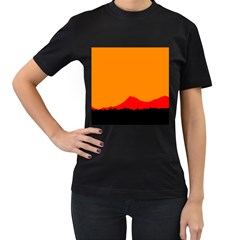 Mountains Natural Orange Red Black Women s T Shirt (black) (two Sided)