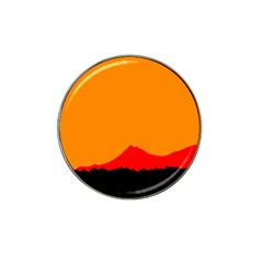 Mountains Natural Orange Red Black Hat Clip Ball Marker