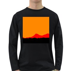 Mountains Natural Orange Red Black Long Sleeve Dark T Shirts
