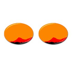 Mountains Natural Orange Red Black Cufflinks (oval)