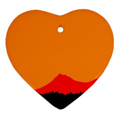 Mountains Natural Orange Red Black Heart Ornament (two Sides)