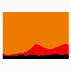 Mountains Natural Orange Red Black Large Glasses Cloth