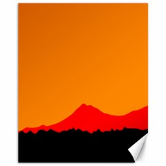 Mountains Natural Orange Red Black Canvas 11  X 14