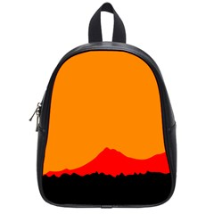 Mountains Natural Orange Red Black School Bag (small) by Mariart