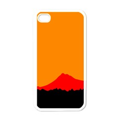 Mountains Natural Orange Red Black Apple Iphone 4 Case (white)