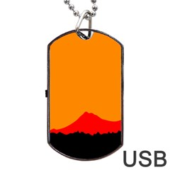 Mountains Natural Orange Red Black Dog Tag Usb Flash (one Side) by Mariart