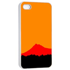 Mountains Natural Orange Red Black Apple Iphone 4/4s Seamless Case (white)