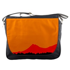 Mountains Natural Orange Red Black Messenger Bags