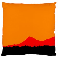 Mountains Natural Orange Red Black Large Cushion Case (one Side)