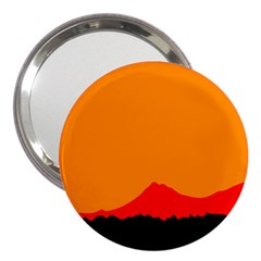 Mountains Natural Orange Red Black 3  Handbag Mirrors