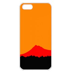 Mountains Natural Orange Red Black Apple Iphone 5 Seamless Case (white)
