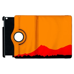 Mountains Natural Orange Red Black Apple Ipad 2 Flip 360 Case by Mariart
