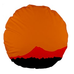 Mountains Natural Orange Red Black Large 18  Premium Round Cushions