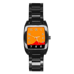 Mountains Natural Orange Red Black Stainless Steel Barrel Watch