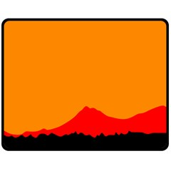 Mountains Natural Orange Red Black Double Sided Fleece Blanket (medium)  by Mariart
