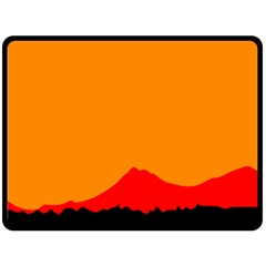 Mountains Natural Orange Red Black Double Sided Fleece Blanket (large)