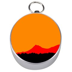 Mountains Natural Orange Red Black Silver Compasses
