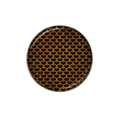 Scales3 Black Marble & Yellow Grunge (r) Hat Clip Ball Marker by trendistuff