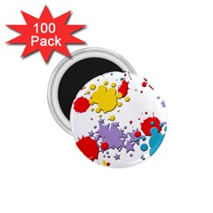 Paint Splash Rainbow Star 1 75  Magnets (100 Pack)
