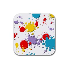 Paint Splash Rainbow Star Rubber Square Coaster (4 Pack)
